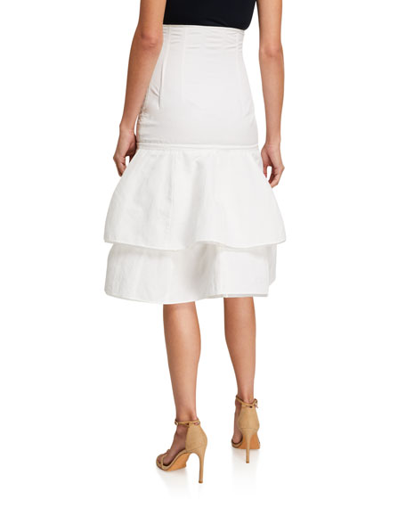 Image 2 of 3: Brock Collection Cotton-Linen Tiered Midi Skirt