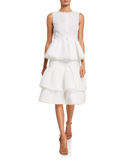 Image 3 of 3: Brock Collection Cotton-Linen Tiered Midi Skirt