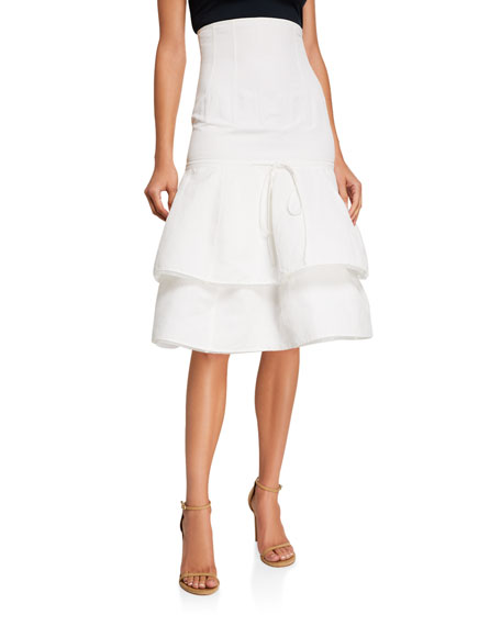 Image 1 of 3: Brock Collection Cotton-Linen Tiered Midi Skirt
