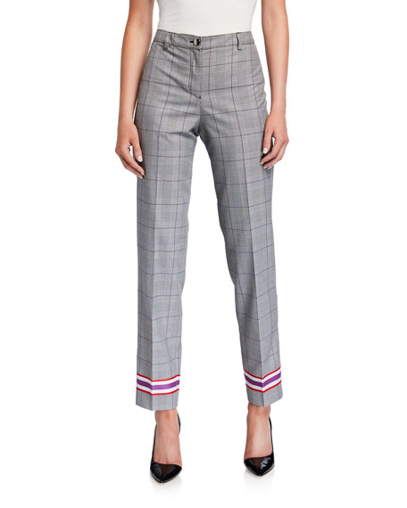 Emporio Armani Plaid Straight-Leg Pants w/ Racer Stripes