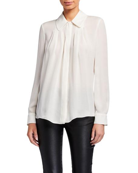Emporio Armani Button-Down Silk Blouse w/ Pleated Front