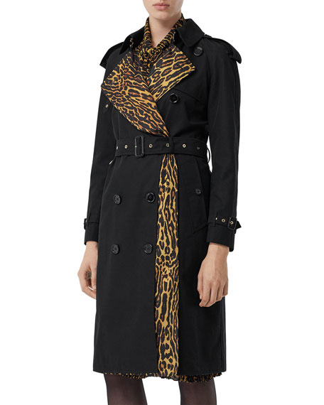 Burberry Bridstow Cotton Gabardine Trench Coat with Animal-Print Face