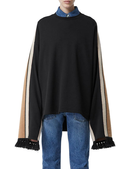 Burberry Cotton Sweatshirt with Cashmere-Scarf Back