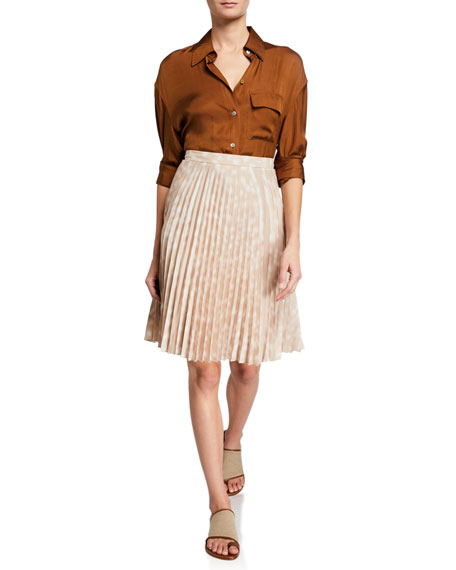 Image 3 of 3: Burberry Rersby Pleated Silk Skirt