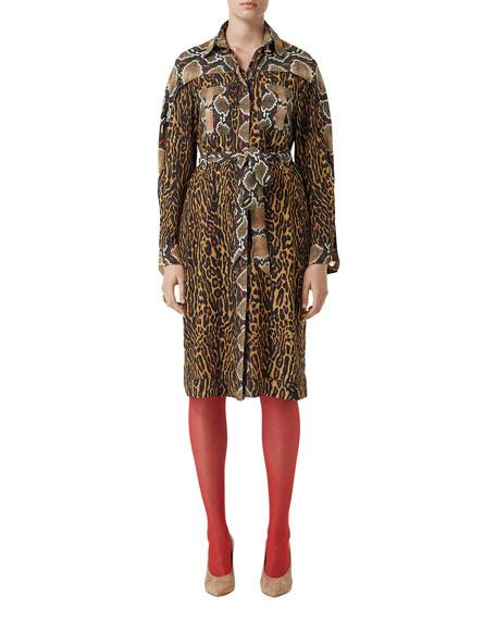 Burberry Dresses LEOPARD & PYTHON PRINT SHIRTDRESS