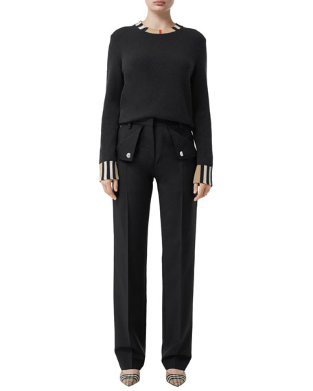 Burberry Eyre Cashmere Check-Trim Sweater