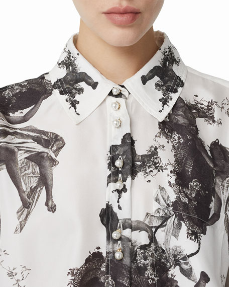 Burberry Angel-Print Silk Pearly Button-Front Shirt