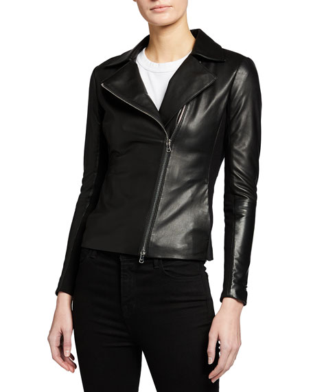 Emporio Armani Carryover Leather Jacket with Jersey Inset