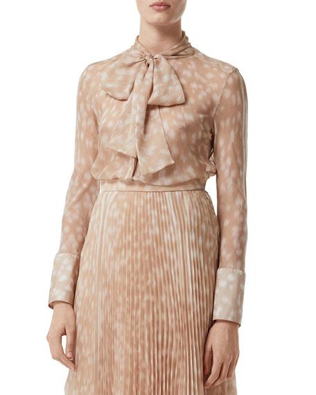 Burberry Amelie Fawn-Print Silk Button-Front Shirt
