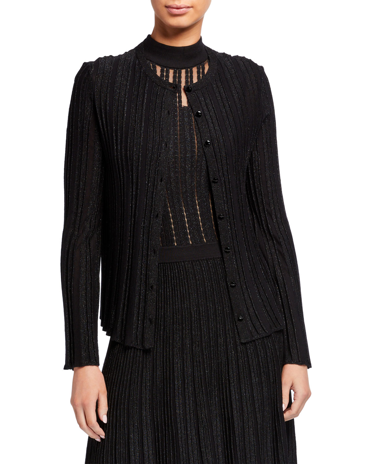 Emporio Armani Metallic Knit Button-Front Flare-Sleeve Cardigan and Matching Items & Matching Items