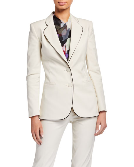 Emporio Armani Two-Button Stretch Cotton Jacket w/ Contrast Piping
