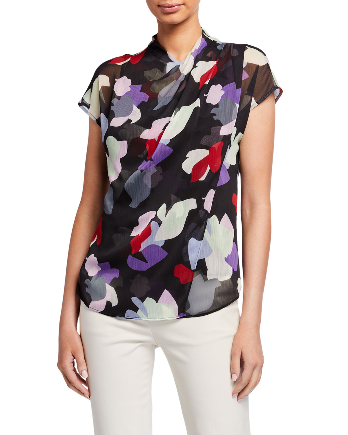 Emporio Armani Abstract Floral Print Draped-Front Pleated Crepe Blouse