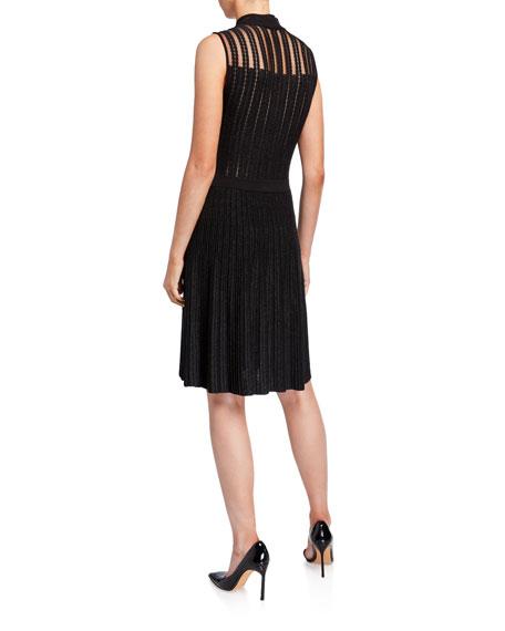 Emporio Armani Mock-Neck Sleeveless Metallic & Lace Sheer-Yoke Dress