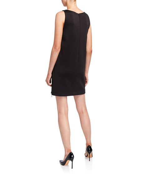 Image 2 of 2: Emporio Armani Sleeveless Jersey Shift Dress w/ Leather Trim & Side Zip Panel