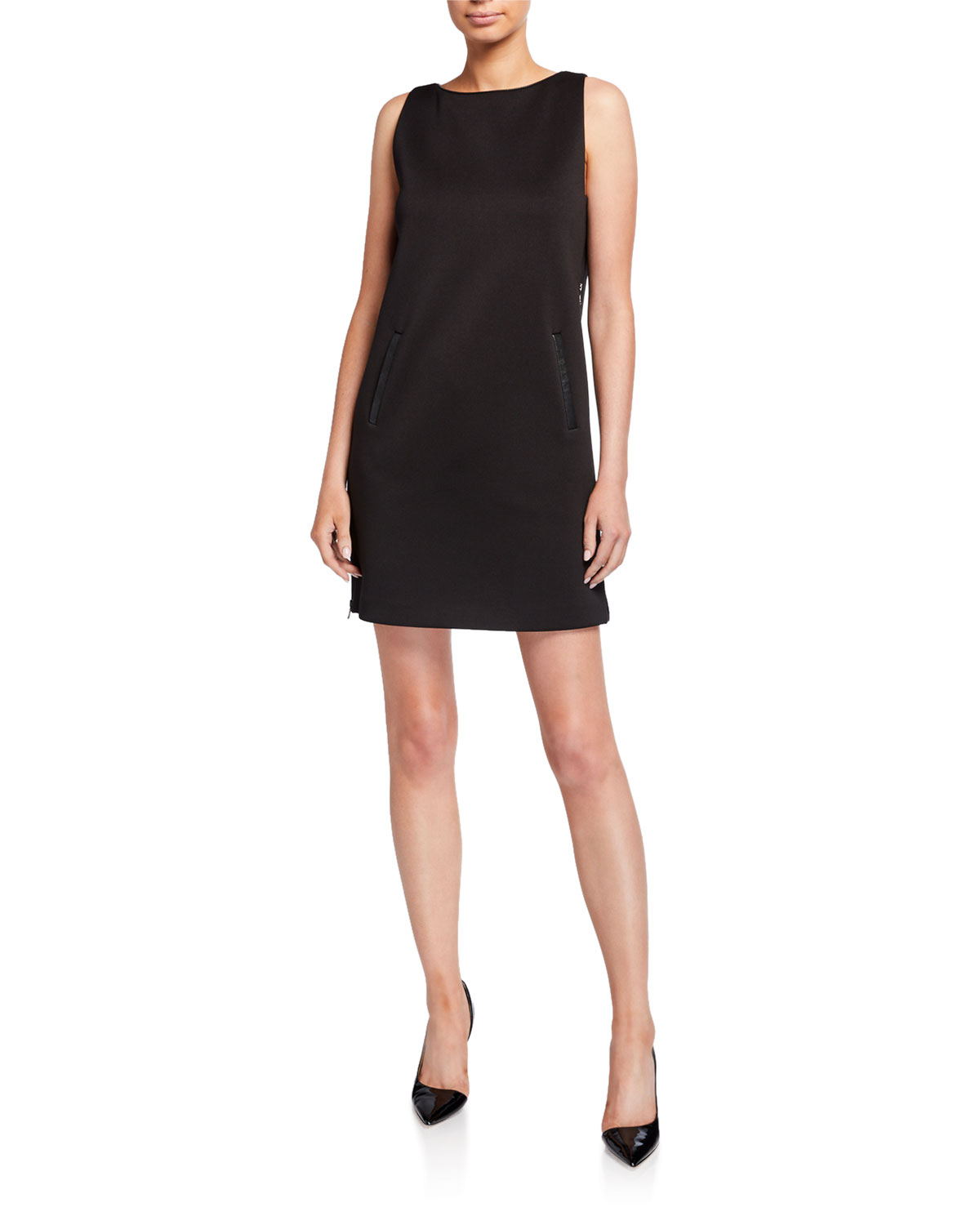 Emporio Armani Sleeveless Jersey Shift Dress w/ Leather Trim & Side Zip Panel