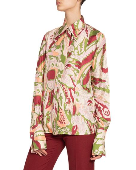 Victoria Beckham Silk Pointed-Collar Shirt