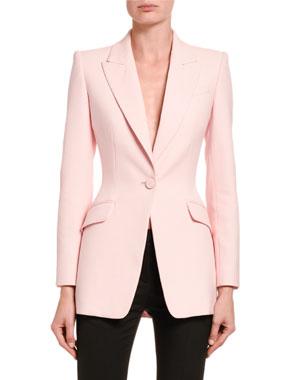 Alexander McQueen Longline Wool-Silk Blazer