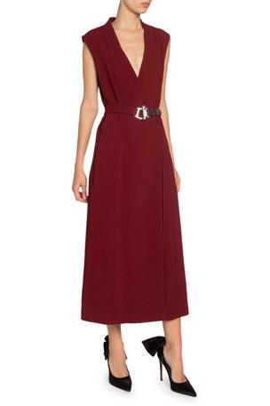 Victoria Beckham Crepe Belted Wrap Dress