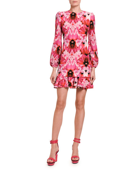 Alexander McQueen Floral Crepe De Chine Mini Flounce Dress
