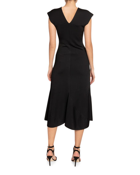 Victoria Beckham Crepe V-Neck Flared Midi Dress