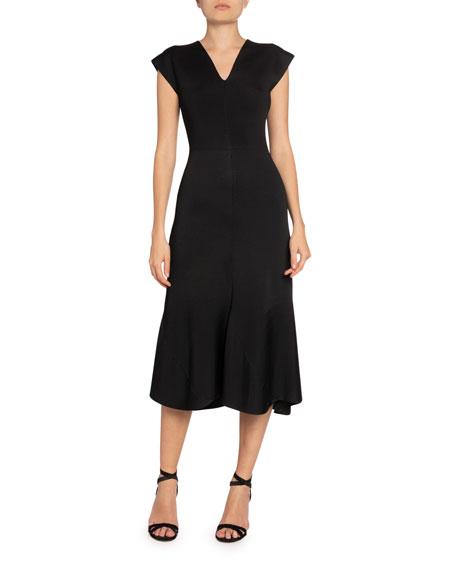Victoria Beckham Crepe V-Neck Flared Midi Dress
