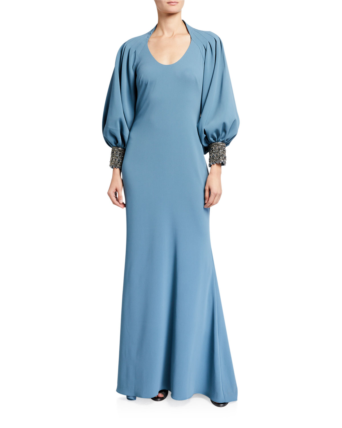 Badgley Mischka Couture Beaded Balloon-Sleeve Gown