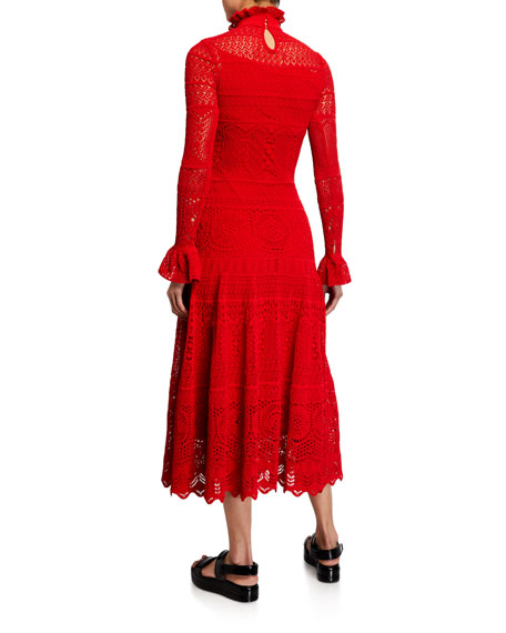Alexander McQueen High-Neck Long-Sleeve Crochet Lace Dress