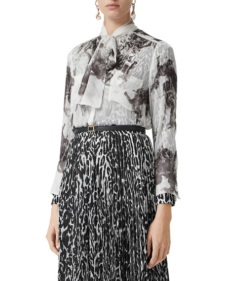 Burberry Accessories Amelie Bow-Neck Printed Silk Blouse
