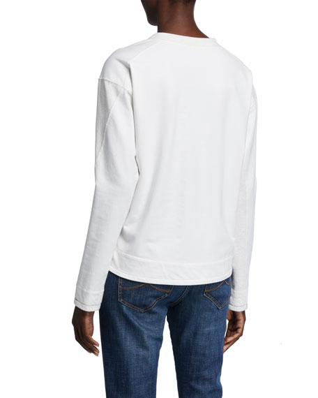 Brunello Cucinelli Cotton Felpa Two-Tone Sweater