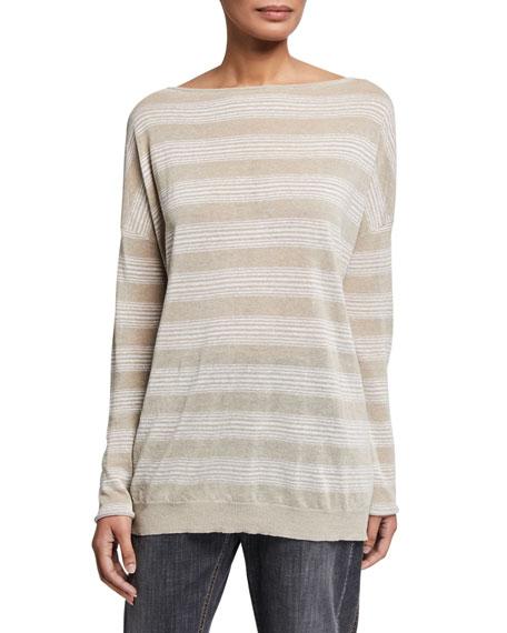 Brunello Cucinelli Shimmer-Striped Linen Boat-Neck Sweater