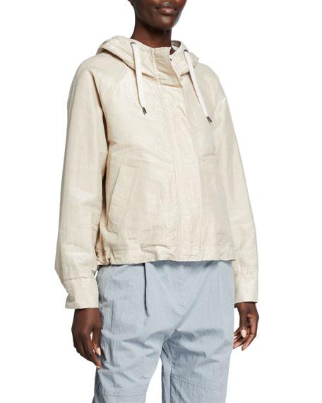 Brunello Cucinelli Shiny Cotton Zip-Front Jacket