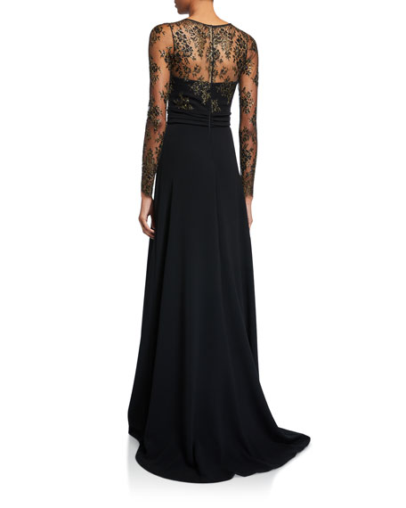 Image 2 of 2: Theia Couture Long Lace-Sleeve Gown