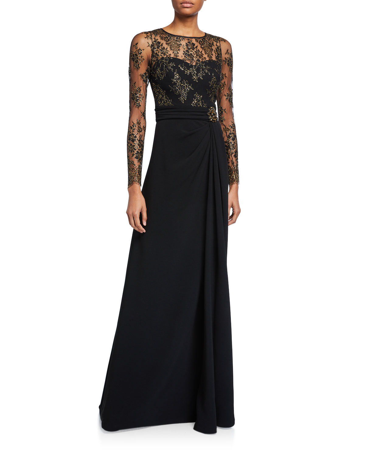 Theia Couture Long Lace-Sleeve Gown