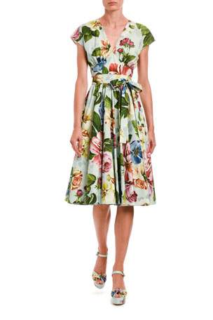 Dolce & Gabbana Floral Wrap Midi Dress