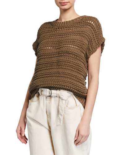 Netted Cotton Crewneck Sweater