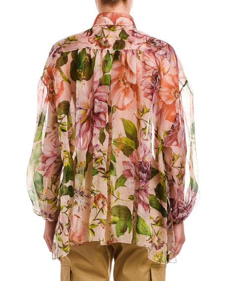 Dolce & Gabbana Rose-Print Silk Organza Blouse