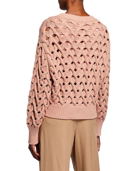 Brunello Cucinelli Piuma Cable Net Crewneck Sweater
