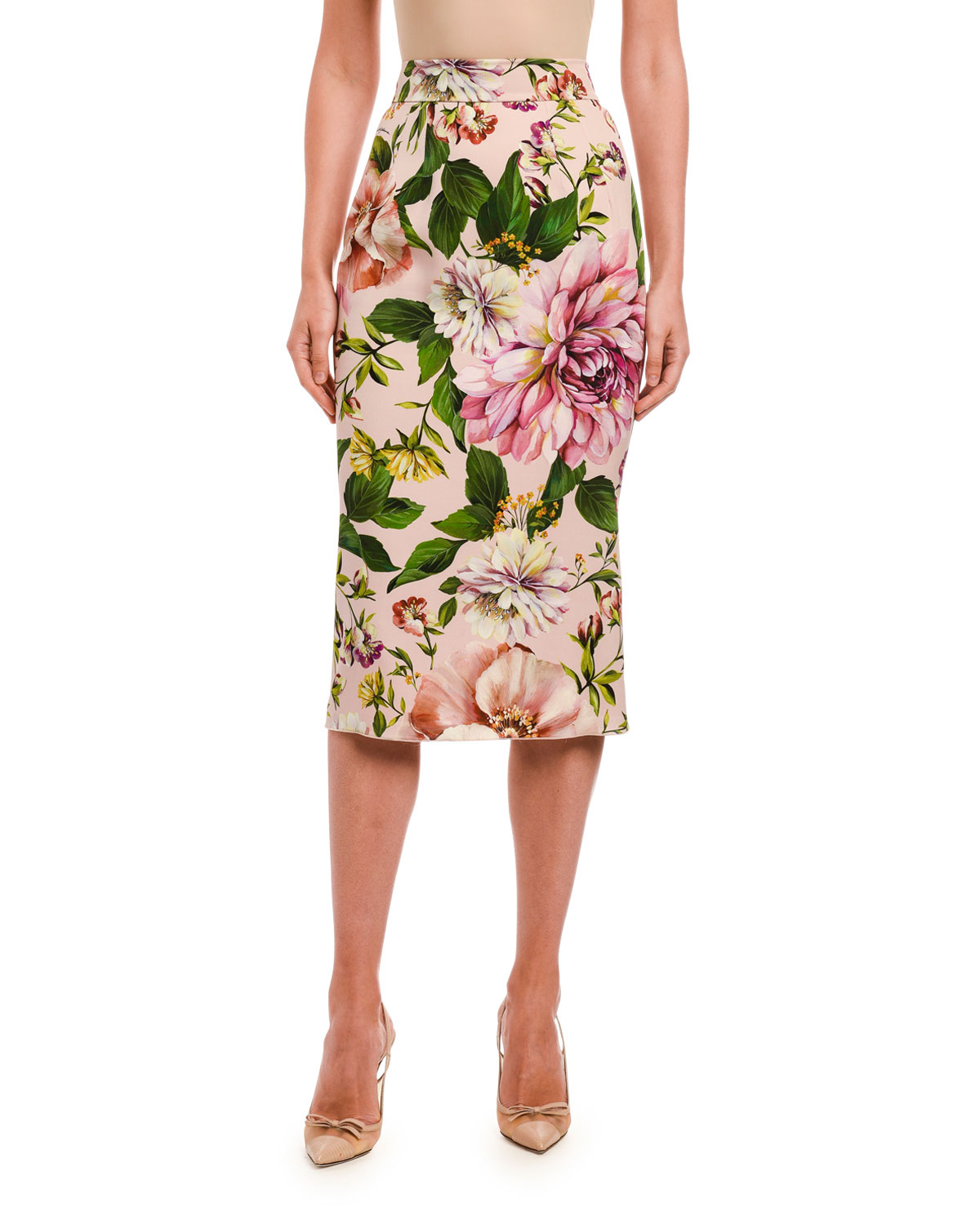 Dolce & Gabbana Floral Print Charmeuse Pencil Skirt