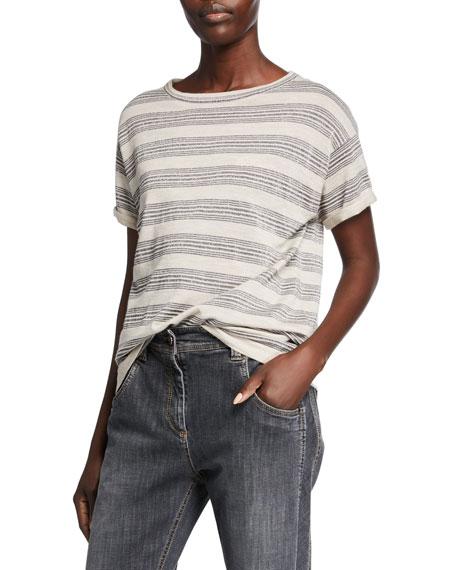 Brunello Cucinelli Wool-Cashmere Striped Short-Sleeve Sweater
