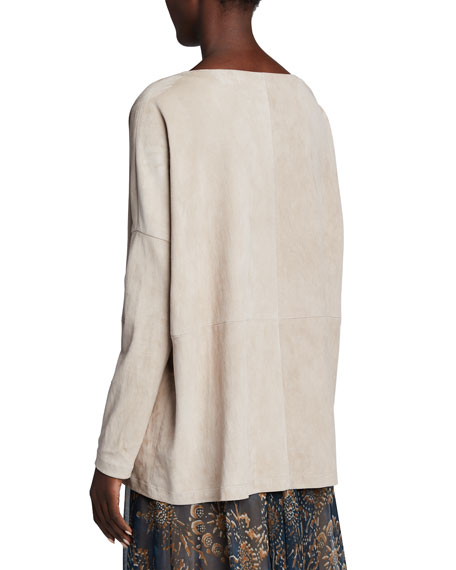 Image 2 of 2: Brunello Cucinelli Suede Pullover Boat-Neck Top