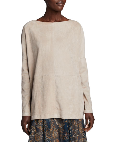 Image 1 of 2: Brunello Cucinelli Suede Pullover Boat-Neck Top
