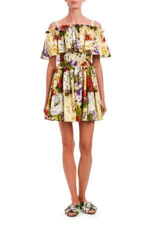 Dolce & Gabbana Floral Stretch Poplin Cold Shoulder Flounce Dress