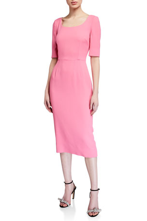 Dolce & Gabbana Cady 1/2-Sleeve Sheath Dress