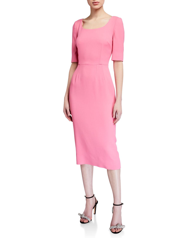 Dolce & Gabbana Cady 1/2-Sleeve Sheath Dress