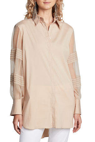 Brunello Cucinelli Monili-Beaded Organza Sleeve Poplin Shirt, Brown