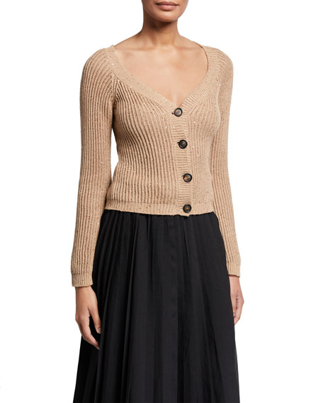 Brunello Cucinelli Sequined Cotton-Linen Ribbed Sweater