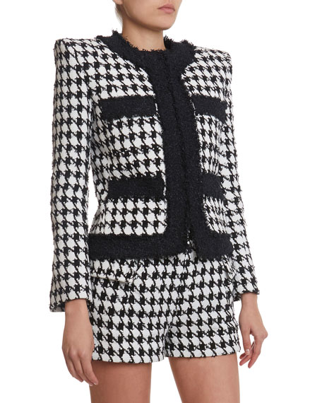 Image 2 of 3: Balmain Houndstooth Tweed Jacket