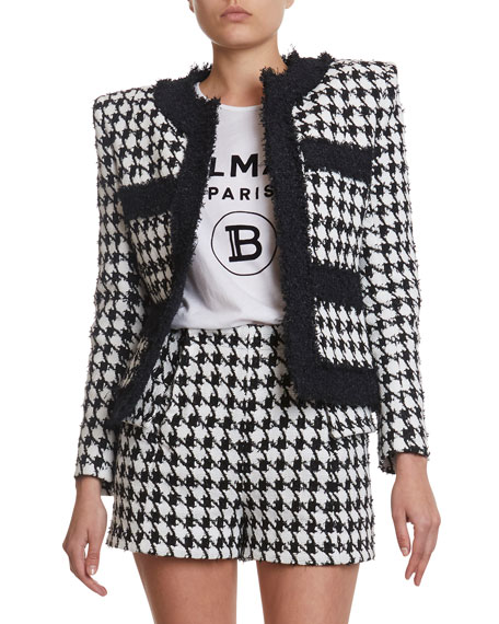 Image 1 of 3: Balmain Houndstooth Tweed Jacket