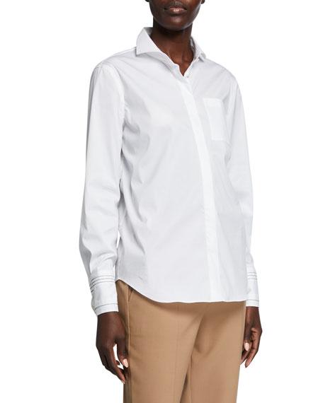 Brunello Cucinelli Monili-Striped Cuff Poplin Shirt
