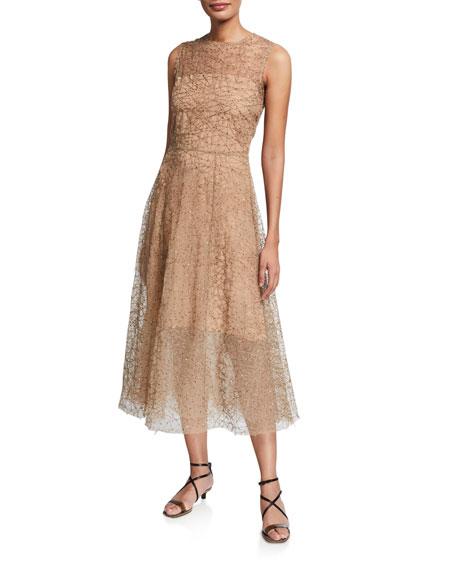 Brunello Cucinelli Tulle Sequined Sleeveless Dress